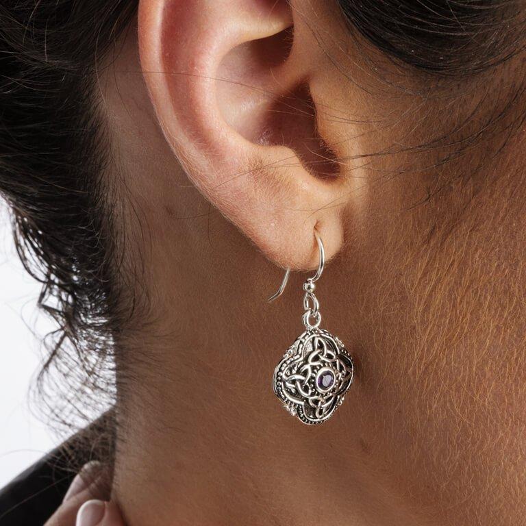 Celtic Tribal Silver Trinity Knot Earrings Se2210Ay_2