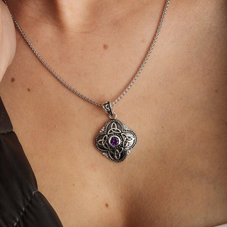 Celtic Tribal Silver Trinity Necklace Sp2208Ay_2