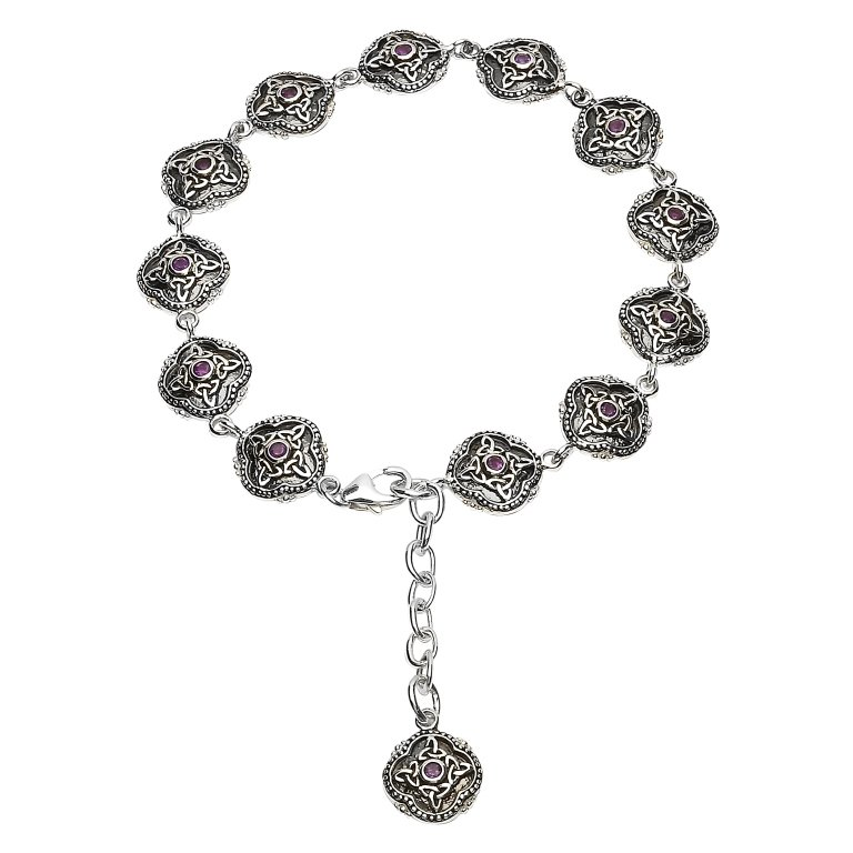Celtic Trinity Aymethyst Tribal Bracelet Sb2211Ay