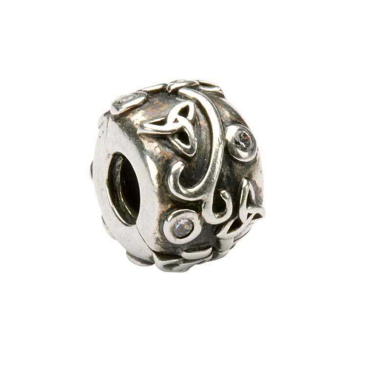 Celtic Trinity Cz Silver Stopper Bead Td4Cz