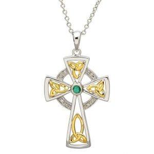 Celtic Trinity Diamond And Emerald Cross Sf29