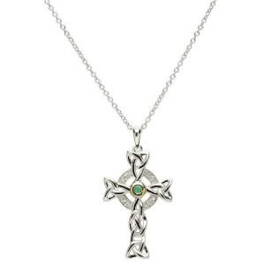 Celtic Trinity Diamond And Emerald Silver Cross Necklace Sf10