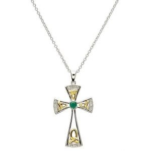 Celtic Trinity Emerald And Diamond Cross Sf15