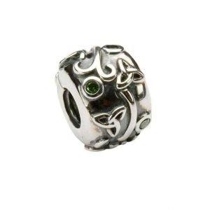 Celtic Trinity Green Silver Stopper Bead Td4Gr