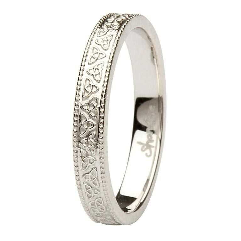 Celtic Trinity Knot 14K White Gold Wedding Ring Br3W