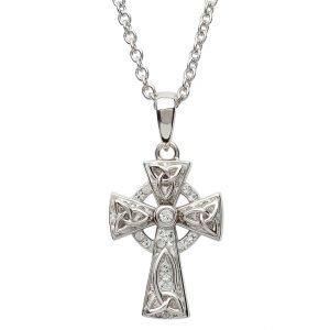 Celtic Trinity Knot Cross Embellished With Swarovski Sw64