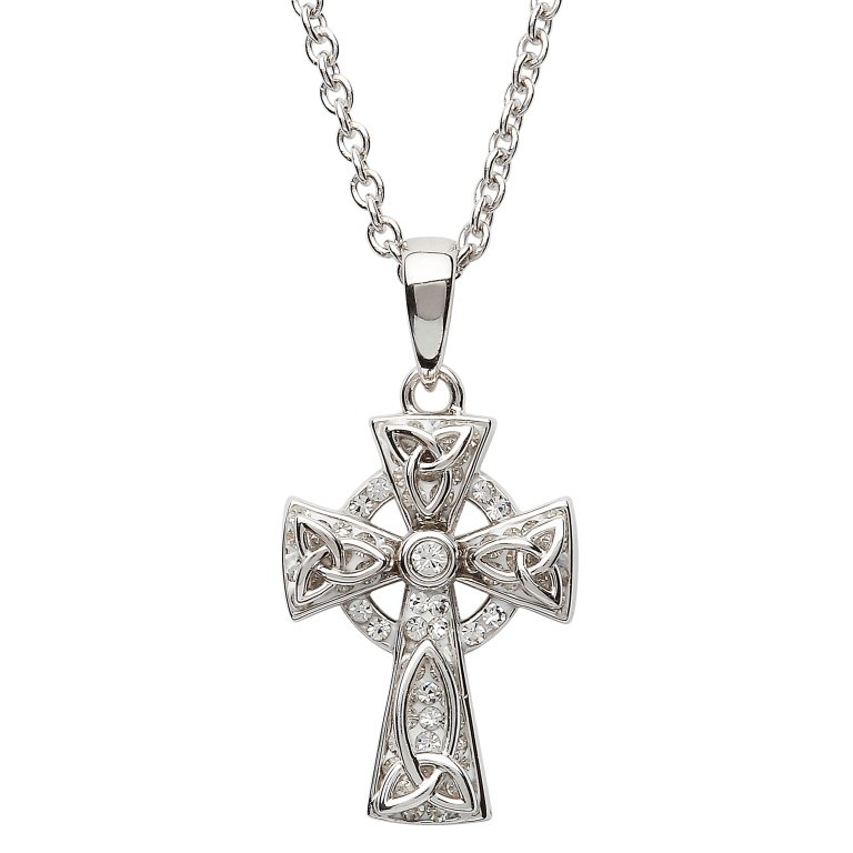 Celtic Trinity Knot Cross Embellished With Swarovski Sw64