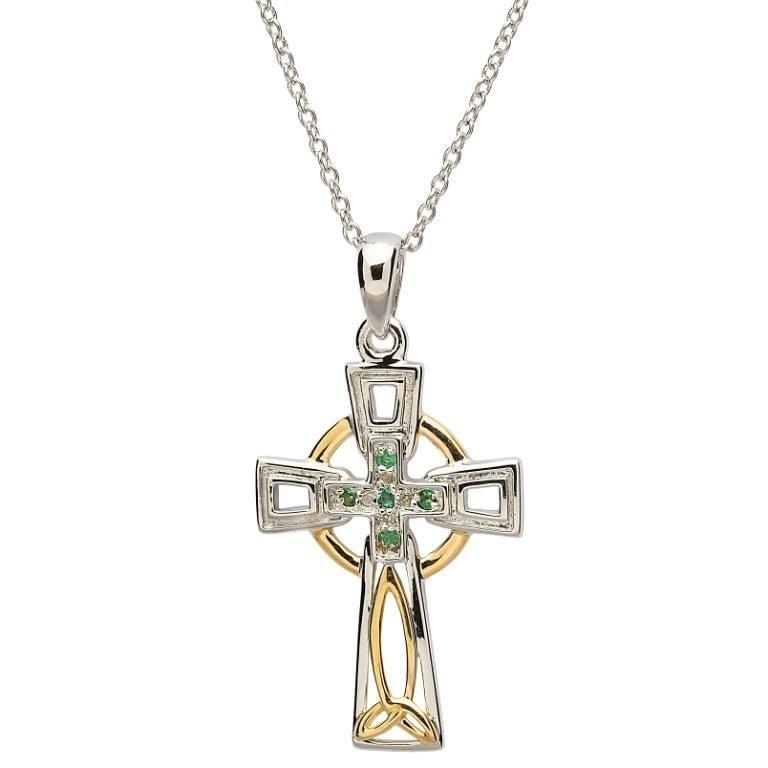 Celtic Trinity Knot Diamond And Emerald Cross Sf28