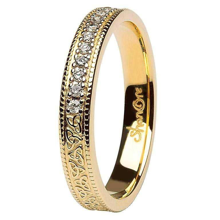 Celtic Trinity Knot Diamond Set 14K Yellow Gold Wedding Ring Br5