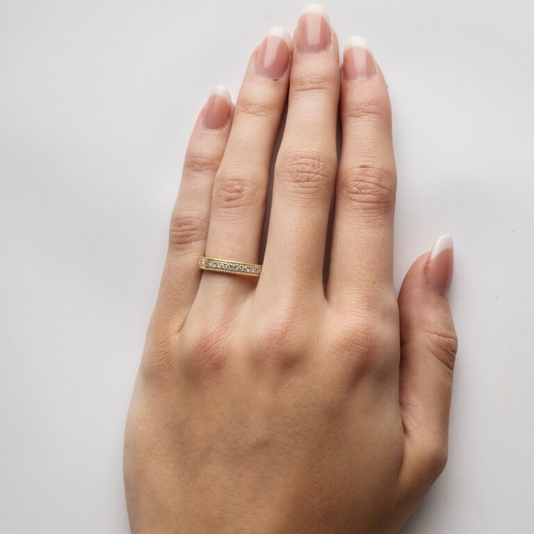 Celtic Trinity Knot Diamond Set 14K Yellow Gold Wedding Ring Br5_3