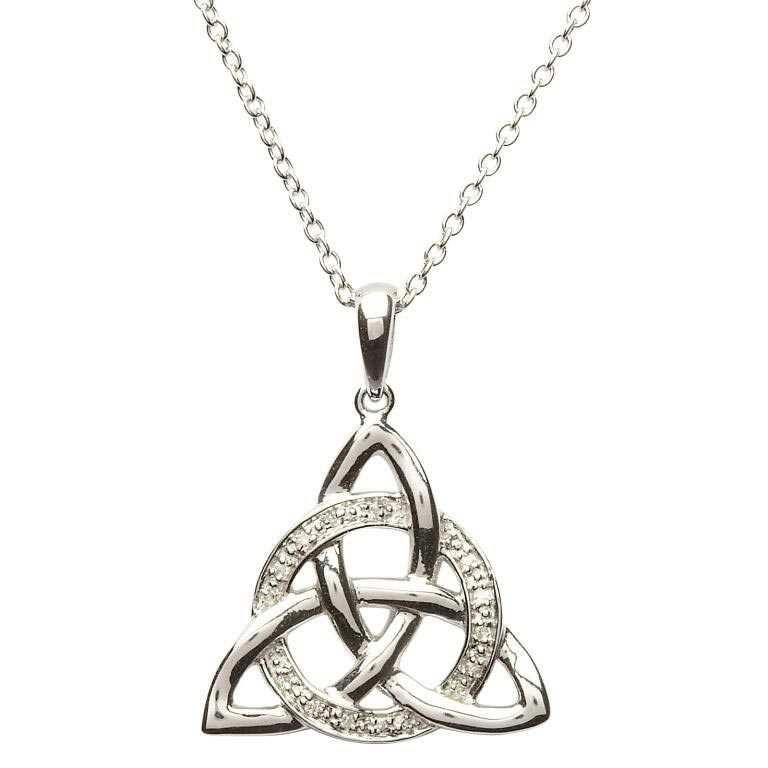 Celtic Trinity Knot Diamond Set Necklace Sp2024