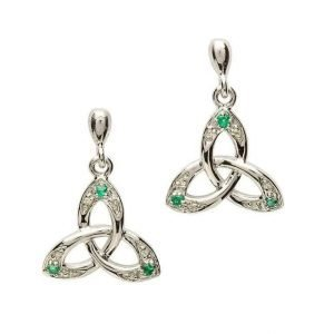 Celtic Trinity Knot Earring Set With Emerald And Diamond Se2028