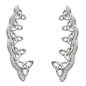 Celtic Trinity Knot Earrings Encrusted With White Swarovski Crystals Sw78