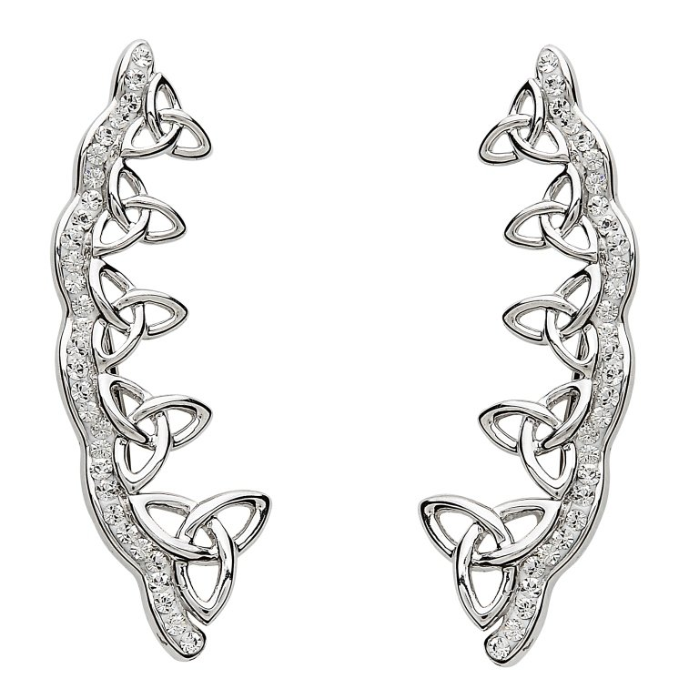Celtic Trinity Knot Earrings Encrusted With White Crystals Sw78