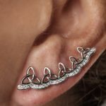 Celtic Trinity Knot Earrings Encrusted With White Swarovski Crystals Sw78_3 - Gallery Thumbnail Image