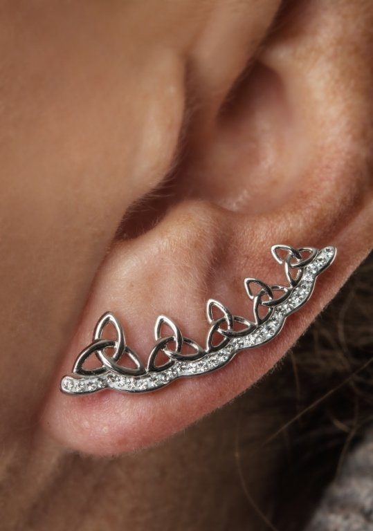 Celtic Trinity Knot Earrings Encrusted With White Crystals Sw78_3