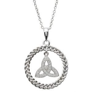 Celtic Trinity Knot Necklace Encrusted With Swarovski Crystal Sw59