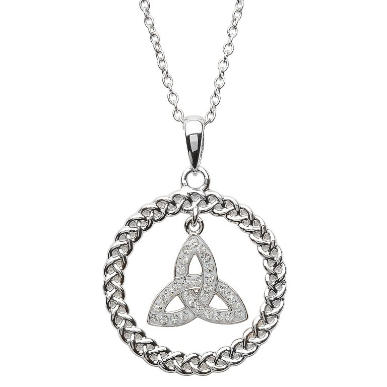 Celtic Trinity Knot Necklace Encrusted With Crystal Sw59