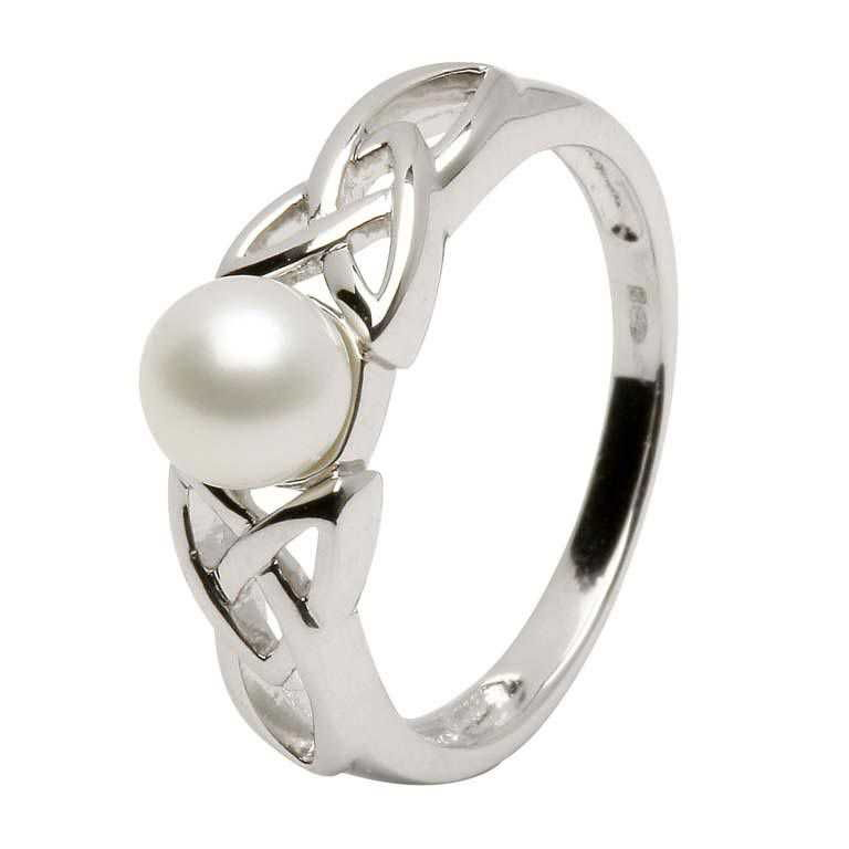Celtic Trinity Knot Pearl Silver Ring Srcp1