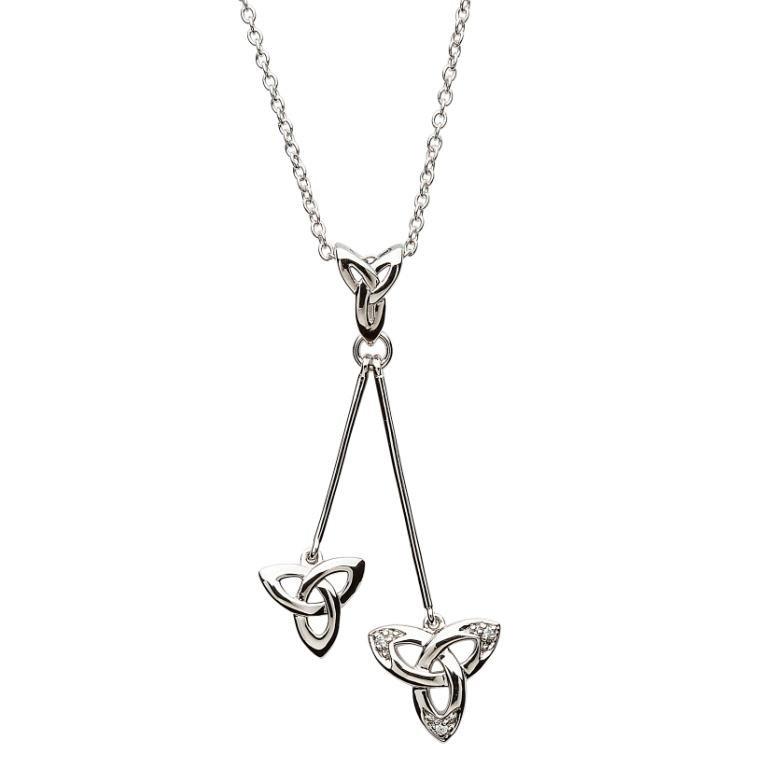 Celtic Trinity Knot Stone Set Dangle Necklace Sp2114