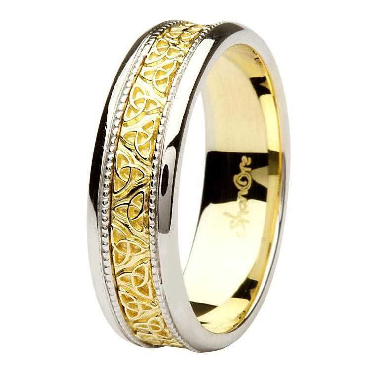 Celtic Trinity Knot Two Tone 14K Gold Gents Wedding Ring Br7Wy