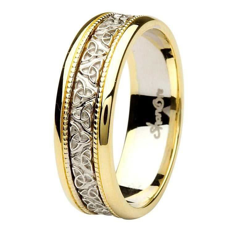 Celtic Trinity Knot Two Tone Gold Gents Wedding Ring Br7Yw