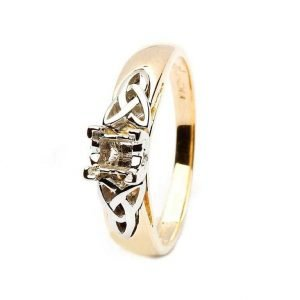 Celtic Trinity Mount Only 14K Yellow And White Gold For Princess Cut Diamond Jp4 Mount Only