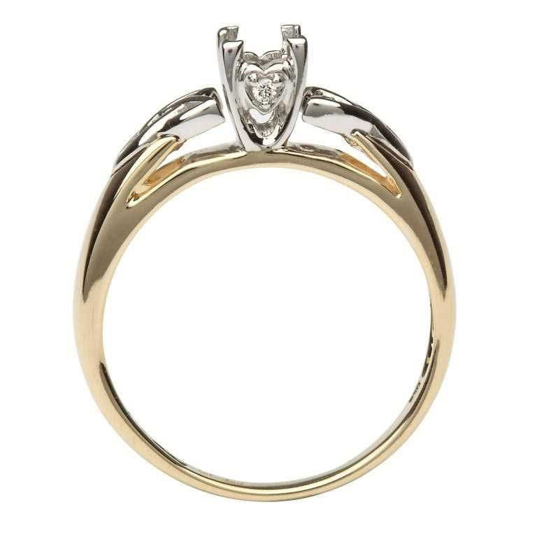 Celtic Trinity Mount Only 14K Yellow And White Gold For Princess Cut Diamond Jp4 Mount Only_2