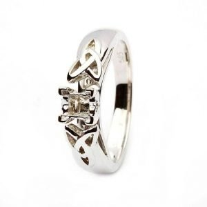 Celtic Trinity Mount Only Ring 14K White Gold For Princess Cut Diamond Jp4W Mount Only