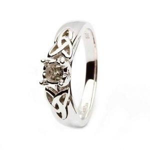 Celtic Trinity Mount Only Ring 14K White Gold For Round Cut Diamond Jp1W Mount Only