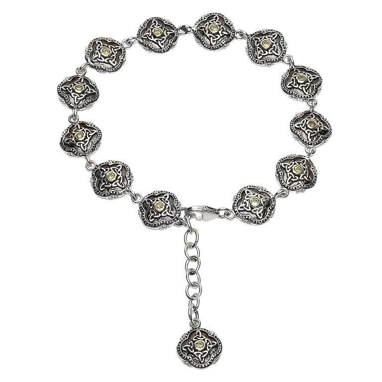 Celtic Trinity Peridot Tribal Bracelet Sb2211Pt
