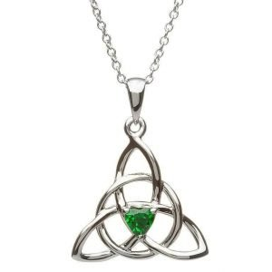 Celtic Trinity Silver Stone Set Necklace Sp2055Gr