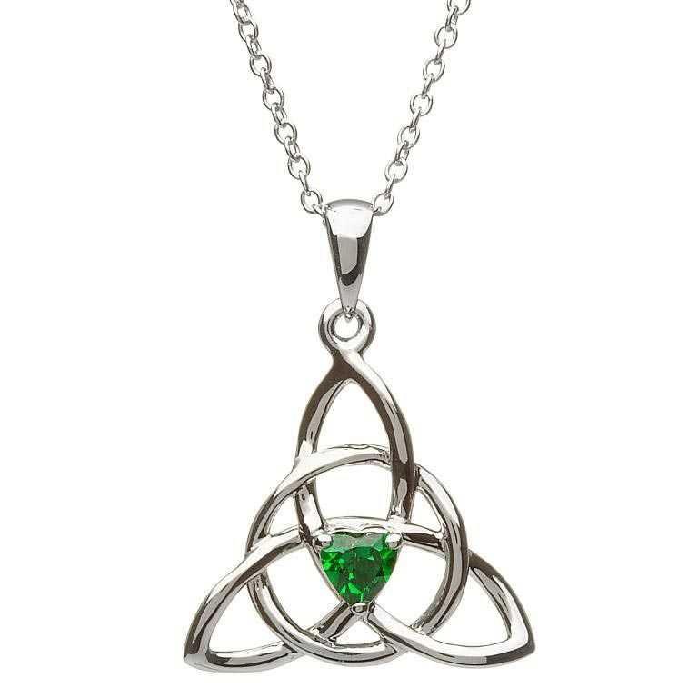 Celtic Trinity Silver Stone Set Necklace Sp2055Gr
