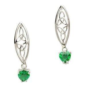 Celtic Trinity Stone Set Silver Earrings Se2017Gr