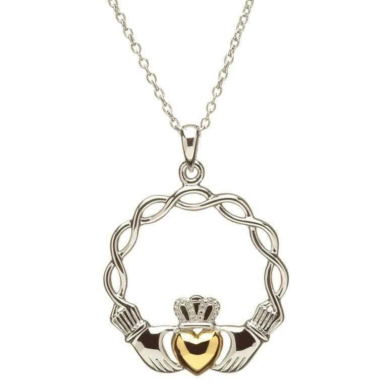 Celtic Wave Claddagh Necklace Sp2045