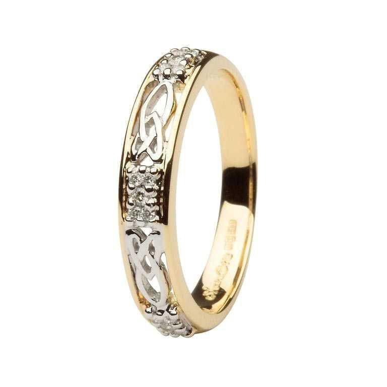 Celtic Wedding Band Ladies Diamond Stone Set 14Ws6Yw2D