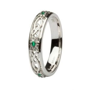 Celtic Wedding Band Ladies Emerald And Diamond Set 14Ws6W2Ed