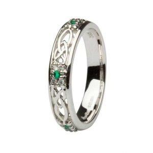 Celtic Wedding Band Ladies Emerald And Diamond Set 14Ws6W2Ed