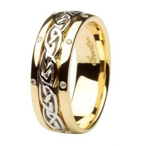 Celtic Wedding Ring Diamond Set Comfort Fit 14Ic17