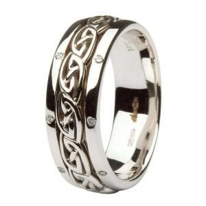 Celtic Wedding Ring Ladies Diamond Set Comfort Fit 14Ic17W