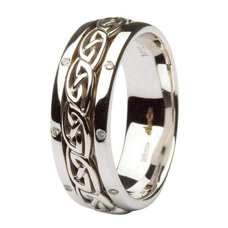 Celtic Wedding Ring Ladies Diamond Set Comfort Fit 14Ic17W