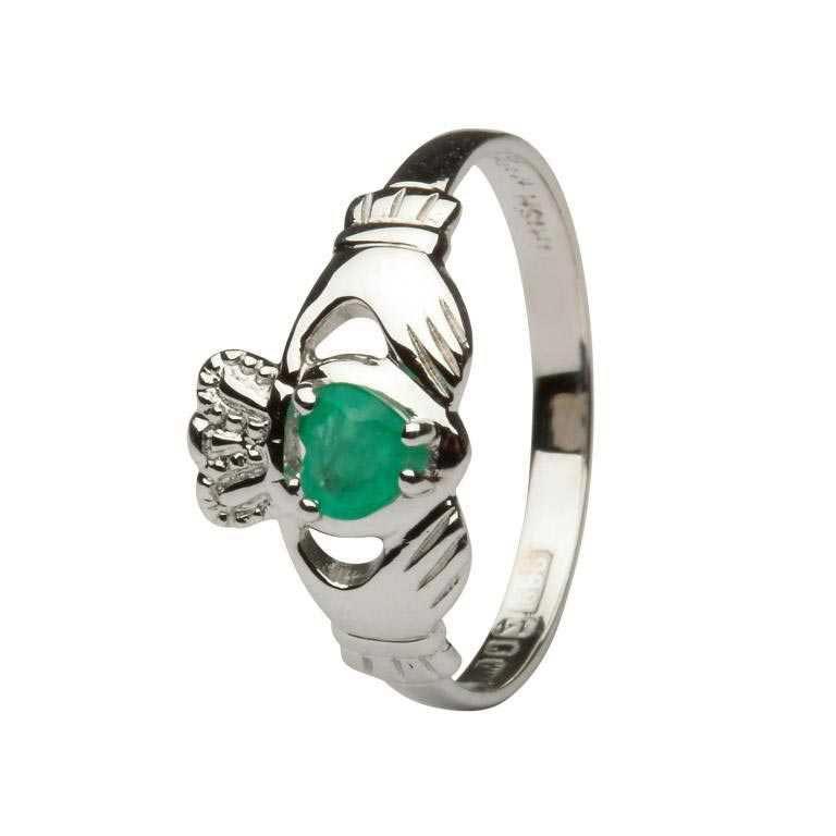 Claddagh 14K Heart Emerald Set Ring L62We