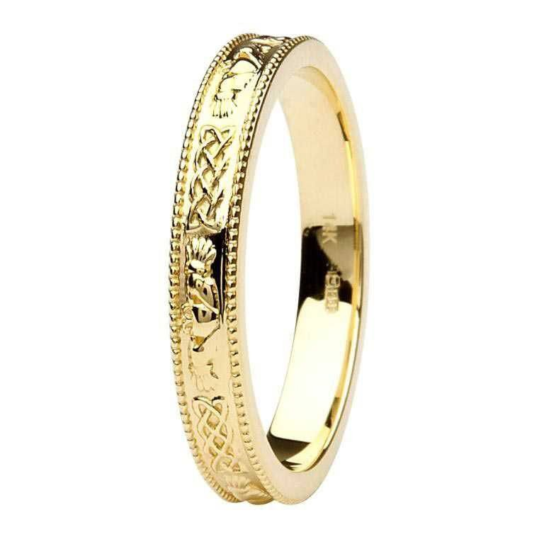Claddagh And Celtic 14K Yellow Gold Wedding Ring Br4