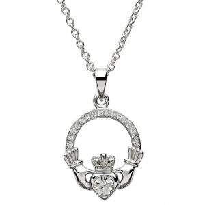Claddagh Birthstone April Pendant Adorned With Crystal Sw101Wh