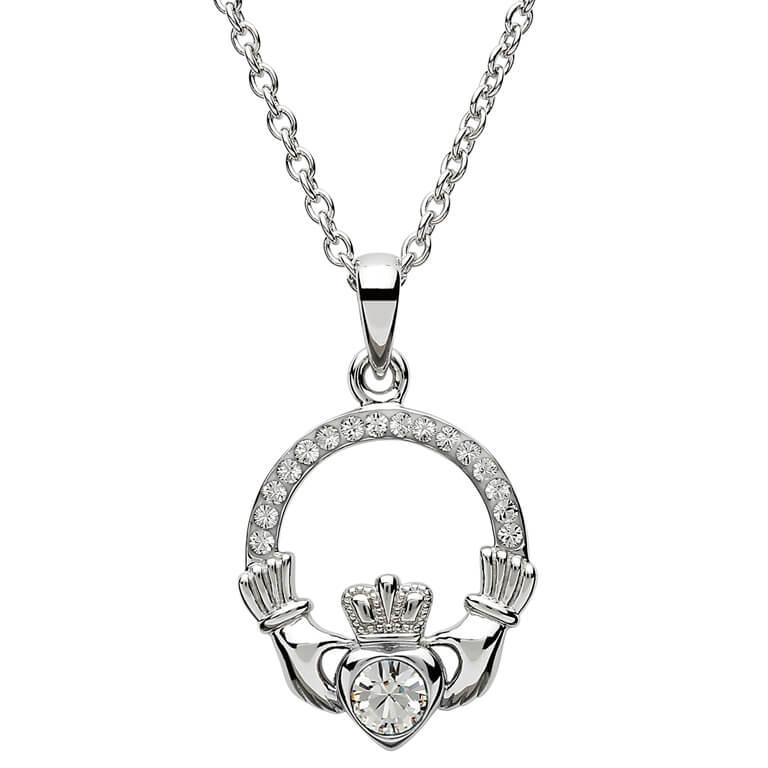 Claddagh Birthstone April Pendant Adorned With Swarovski Crystal Sw101Wh