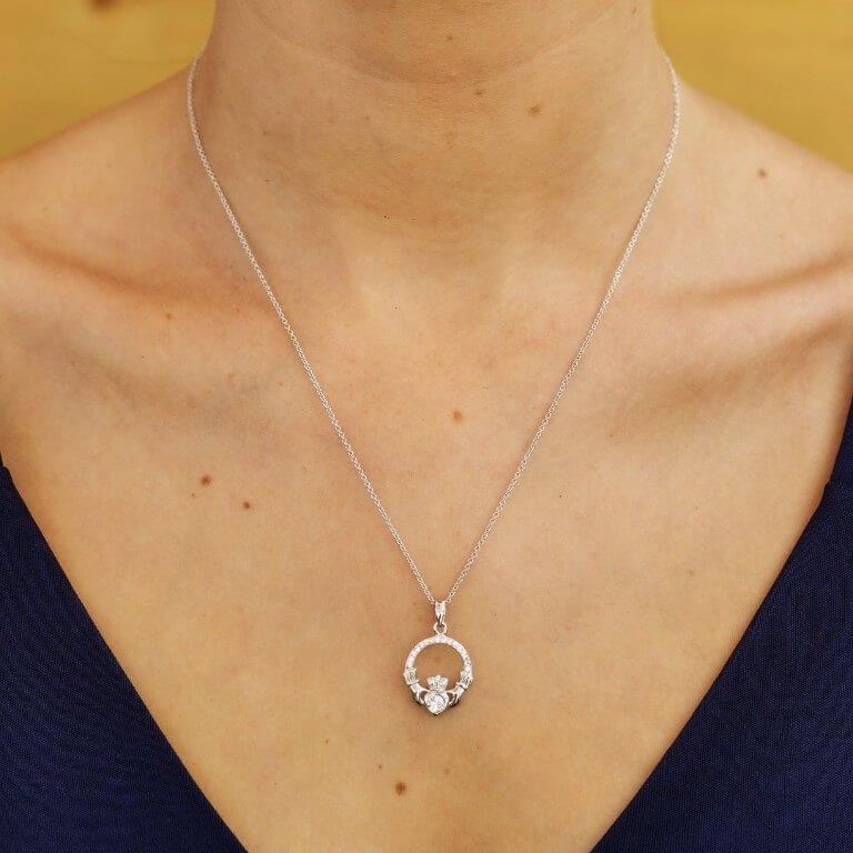 Claddagh Birthstone April Pendant Adorned With Swarovski Crystal Sw101Wh_2