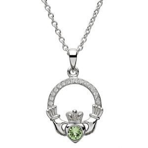 Claddagh Birthstone August Pendant Adorned With Swarovski Crystal Sw101Pt