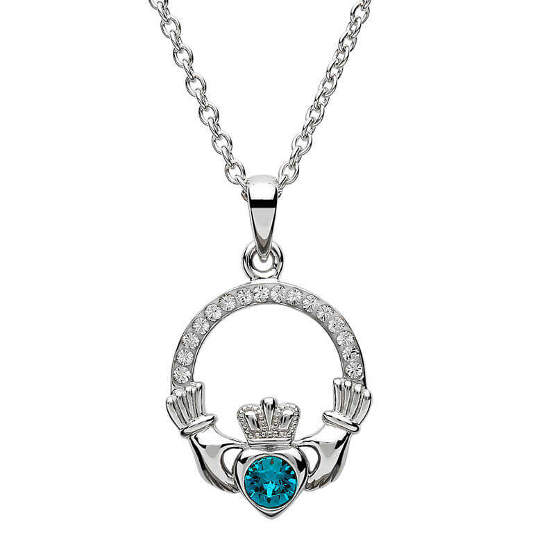 Claddagh Birthstone December Pendant Adorned With Swarovski Crystal Sw101Bt