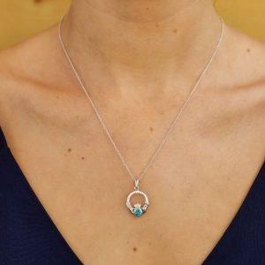 Claddagh Birthstone December Pendant Adorned With Swarovski Crystal Sw101Bt_2