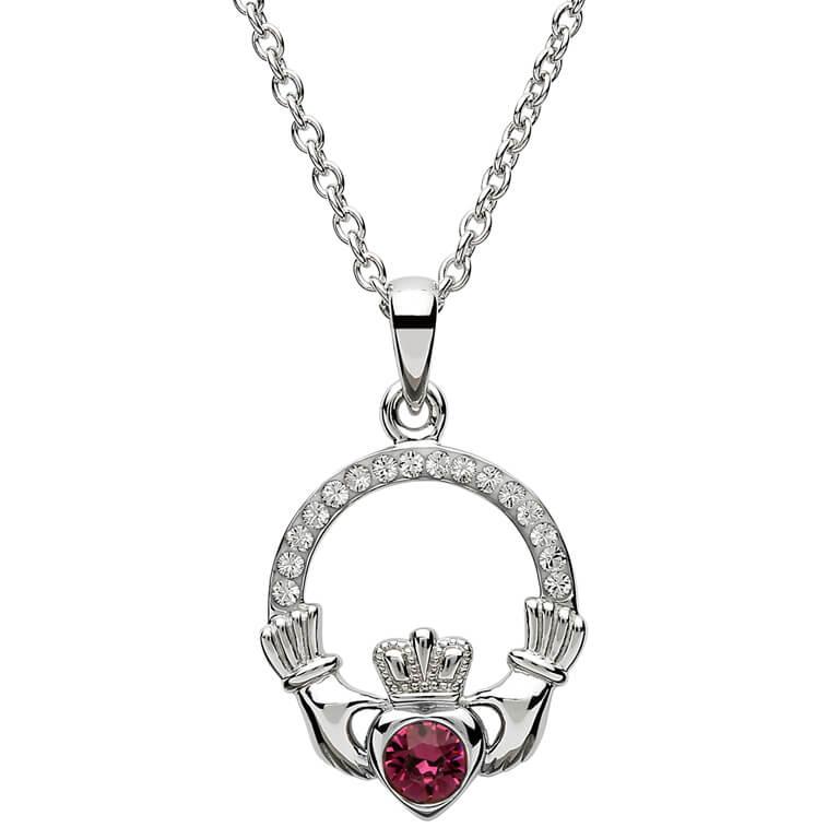 Claddagh Birthstone February Pendant Adorned With Swarovski Crystal Sw101Ay